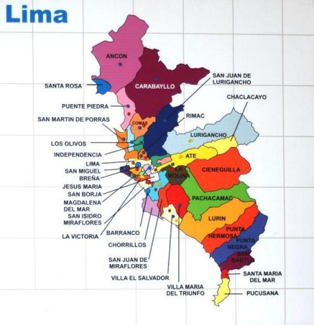 mapa de distritos Distritos de Lima, precio en dolares del metro cuadrado de terreno  mapa de distritos